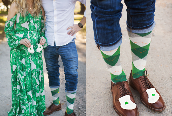 photographs of a couple wearing a green dress and green socks with baby socks with a shamrock