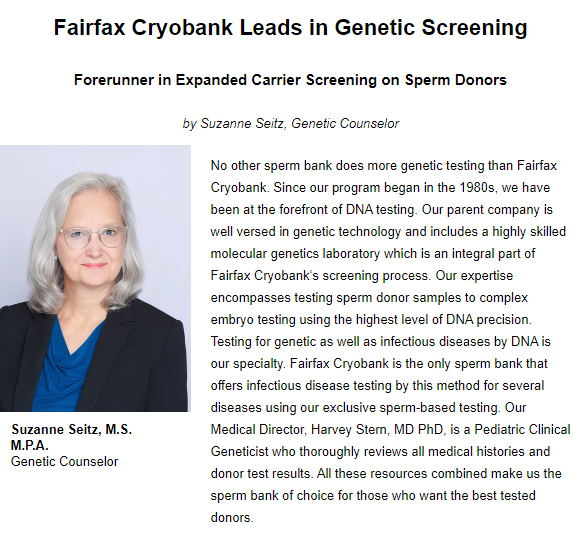 newsletter screen shot of genetic screening article