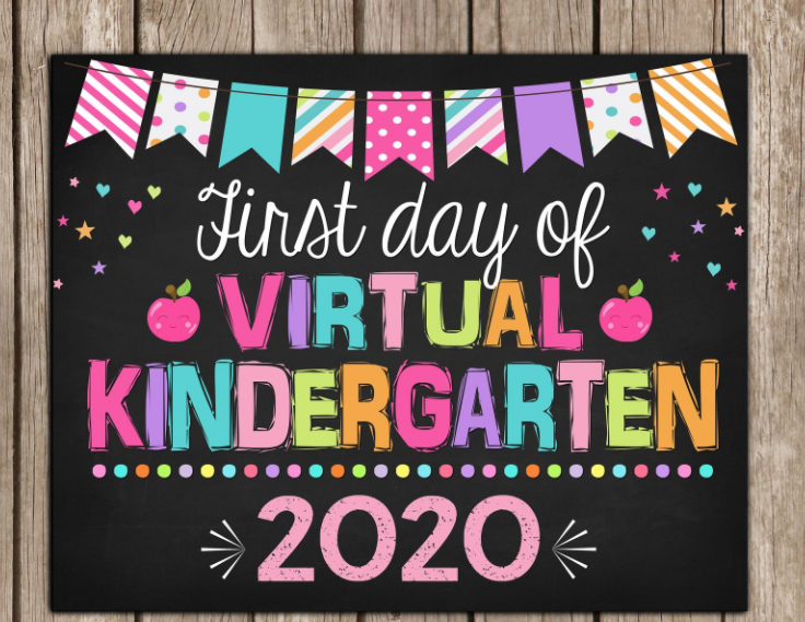first day of school virtual learning sign